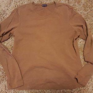R Stretch Light Brown Crew Neck Long Sleeve Shirt